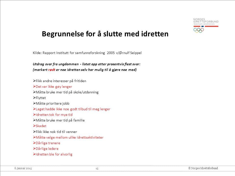 6. januar 2015 15© Norges Idrettsforbund Kilde: Rapport Institutt for samfunnsforskning 2005 v/Ørnulf Seippel Utdrag svar fra ungdommen - listet opp e