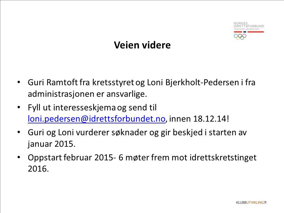 Veien videre Guri Ramtoft fra kretsstyret og Loni Bjerkholt-Pedersen i fra administrasjonen er ansvarlige. Fyll ut interesseskjema og send til loni.pe
