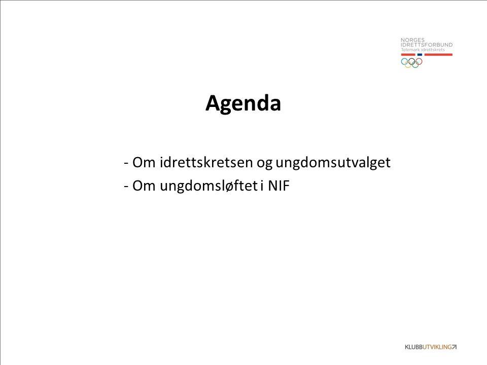 Agenda - Om idrettskretsen og ungdomsutvalget - Om ungdomsløftet i NIF