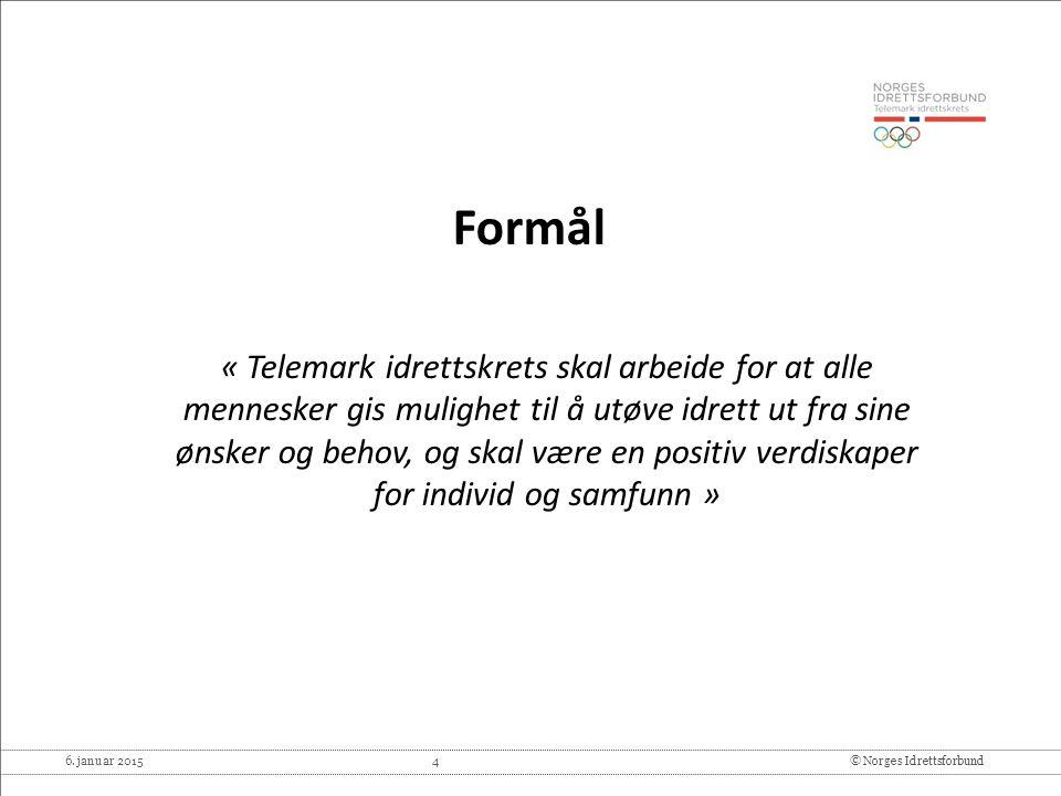 6. januar 2015 4© Norges Idrettsforbund Formål « Telemark idrettskrets skal arbeide for at alle mennesker gis mulighet til å utøve idrett ut fra sine