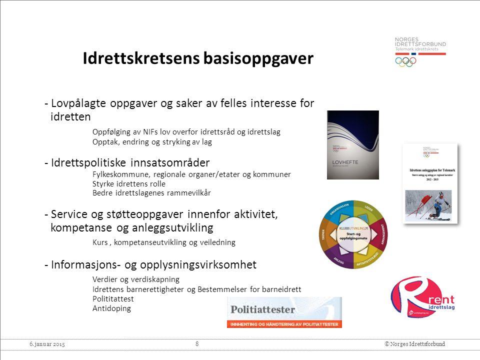 6. januar 2015 8© Norges Idrettsforbund Idrettskretsens basisoppgaver - Lovpålagte oppgaver og saker av felles interesse for idretten Oppfølging av NI