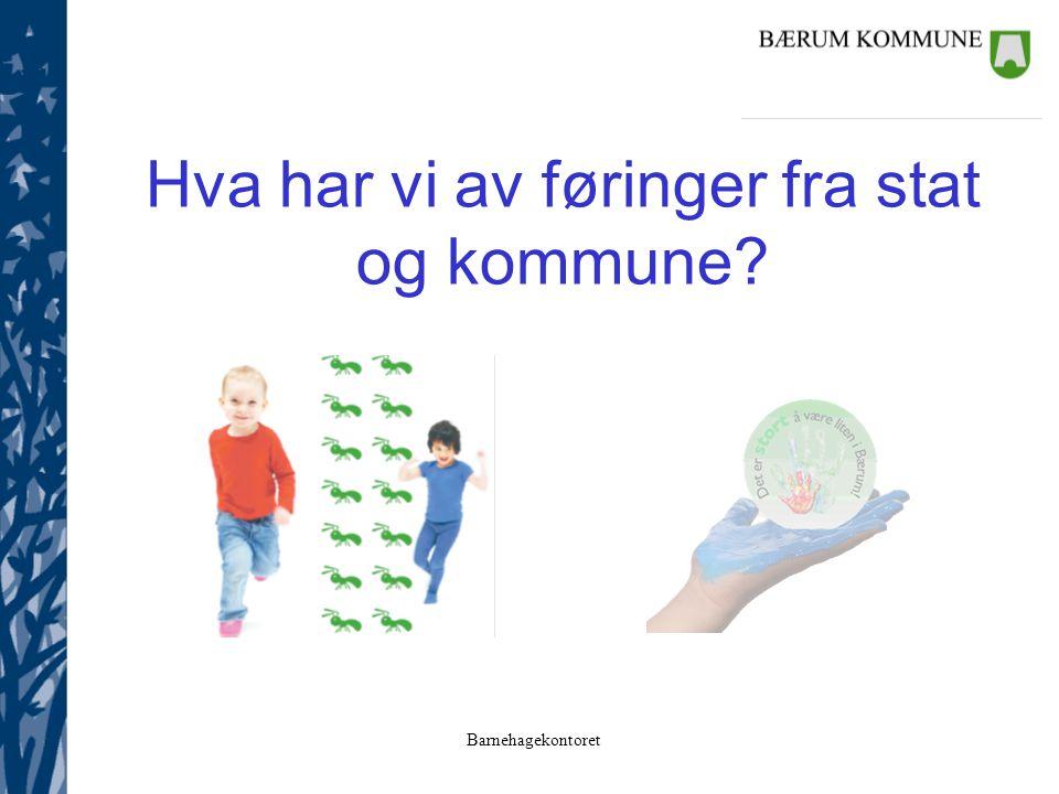 Barnehagekontoret Hva har vi av føringer fra stat og kommune?