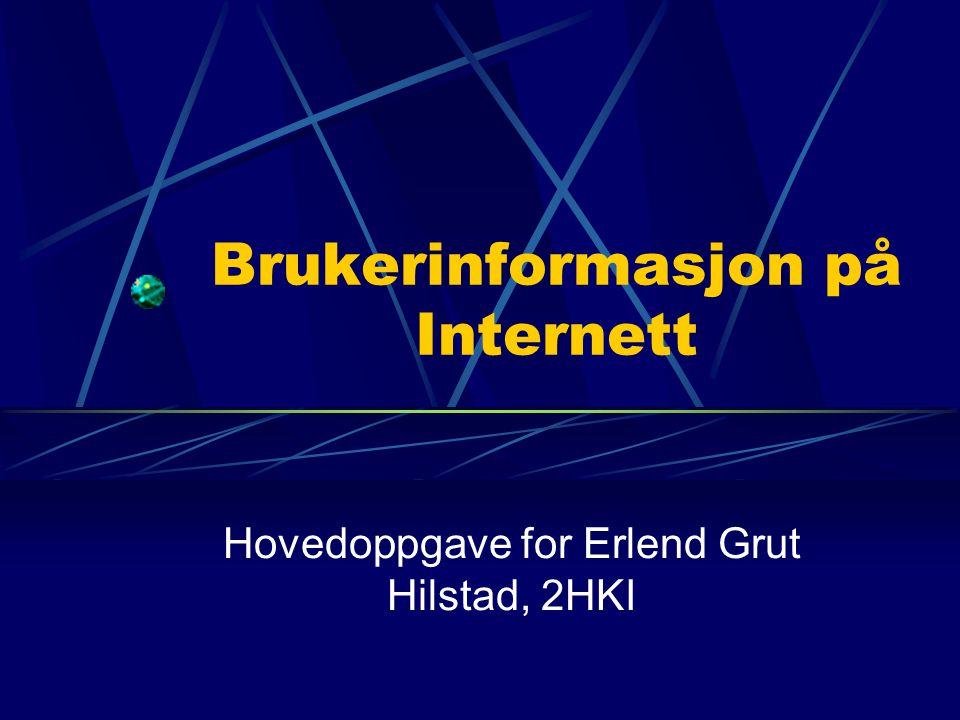 Brukerinformasjon på Internett Hovedoppgave for Erlend Grut Hilstad, 2HKI