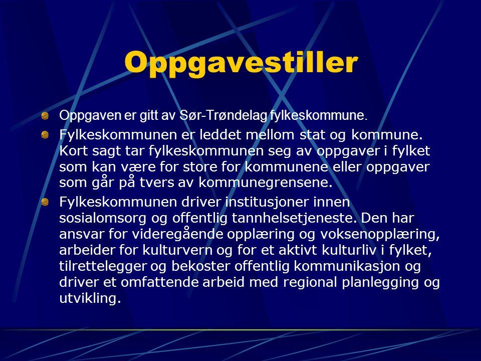 Oppgavestiller Oppgaven er gitt av Sør-Trøndelag fylkeskommune.