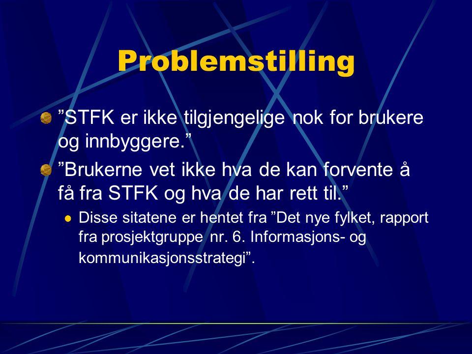 Problemstilling STFK er ikke tilgjengelige nok for brukere og innbyggere. Brukerne vet ikke hva de kan forvente å få fra STFK og hva de har rett til. Disse sitatene er hentet fra Det nye fylket, rapport fra prosjektgruppe nr.
