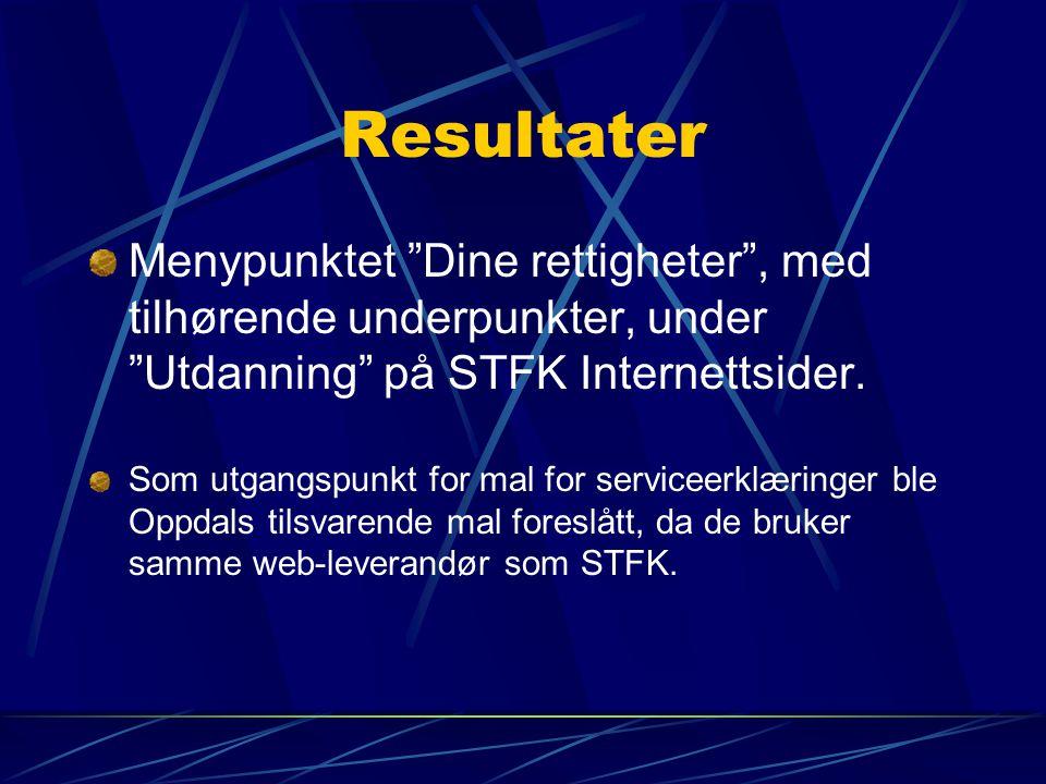 Resultater Menypunktet Dine rettigheter , med tilhørende underpunkter, under Utdanning på STFK Internettsider.