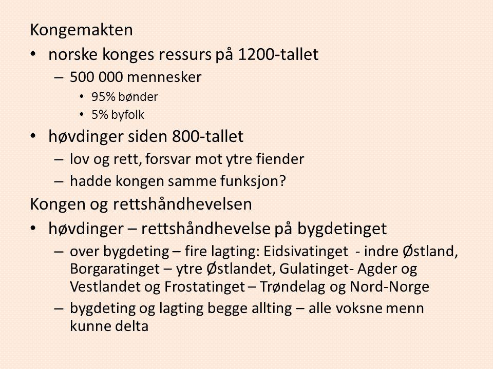 Kongemakten norske konges ressurs på 1200-tallet – 500 000 mennesker 95% bønder 5% byfolk høvdinger siden 800-tallet – lov og rett, forsvar mot ytre f