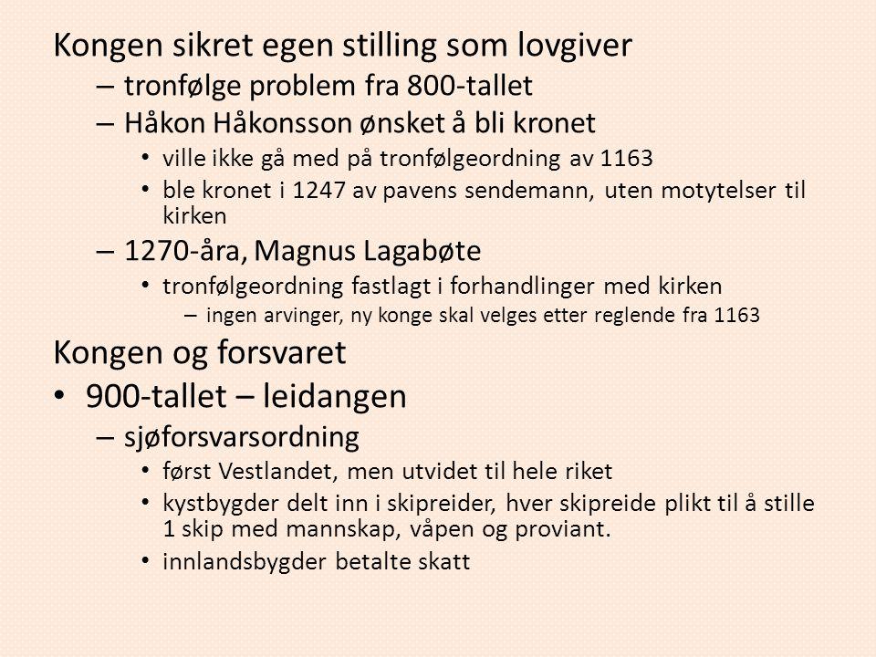 Kongen sikret egen stilling som lovgiver – tronfølge problem fra 800-tallet – Håkon Håkonsson ønsket å bli kronet ville ikke gå med på tronfølgeordnin