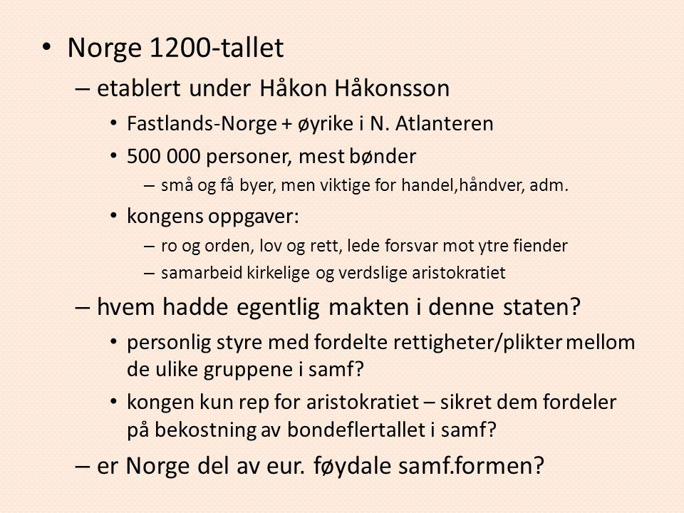 Norge 1200-tallet – etablert under Håkon Håkonsson Fastlands-Norge + øyrike i N. Atlanteren 500 000 personer, mest bønder – små og få byer, men viktig