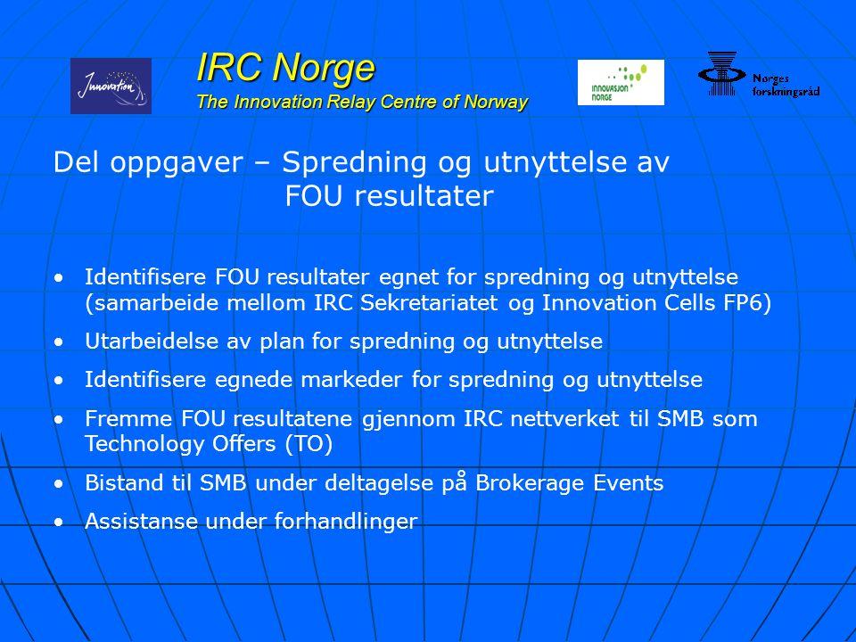 IRC Norge The Innovation Relay Centre of Norway Del oppgaver – Spredning og utnyttelse av FOU resultater Identifisere FOU resultater egnet for spredni