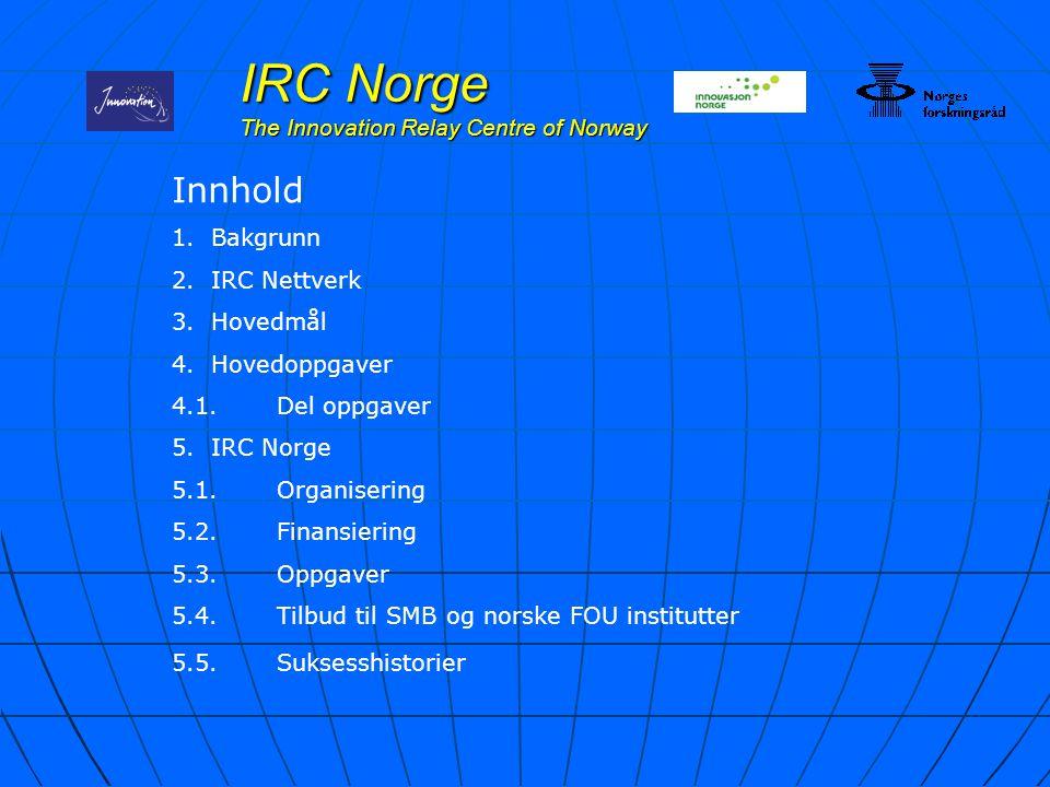 IRC Norge The Innovation Relay Centre of Norway Innhold 1.Bakgrunn 2.IRC Nettverk 3.Hovedmål 4.Hovedoppgaver 4.1.Del oppgaver 5.IRC Norge 5.1.Organise