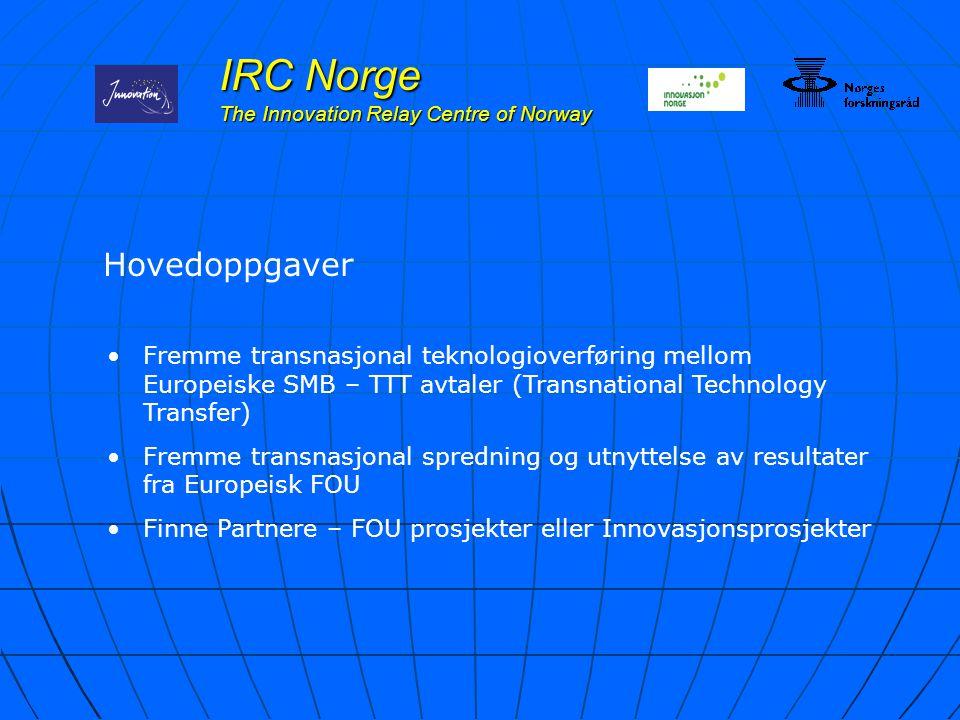 IRC Norge The Innovation Relay Centre of Norway Hovedoppgaver Fremme transnasjonal teknologioverføring mellom Europeiske SMB – TTT avtaler (Transnatio
