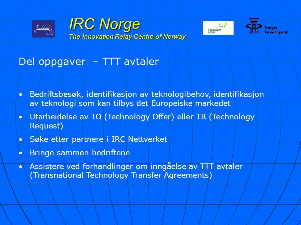 IRC Norge The Innovation Relay Centre of Norway Del oppgaver – TTT avtaler Bedriftsbesøk, identifikasjon av teknologibehov, identifikasjon av teknolog
