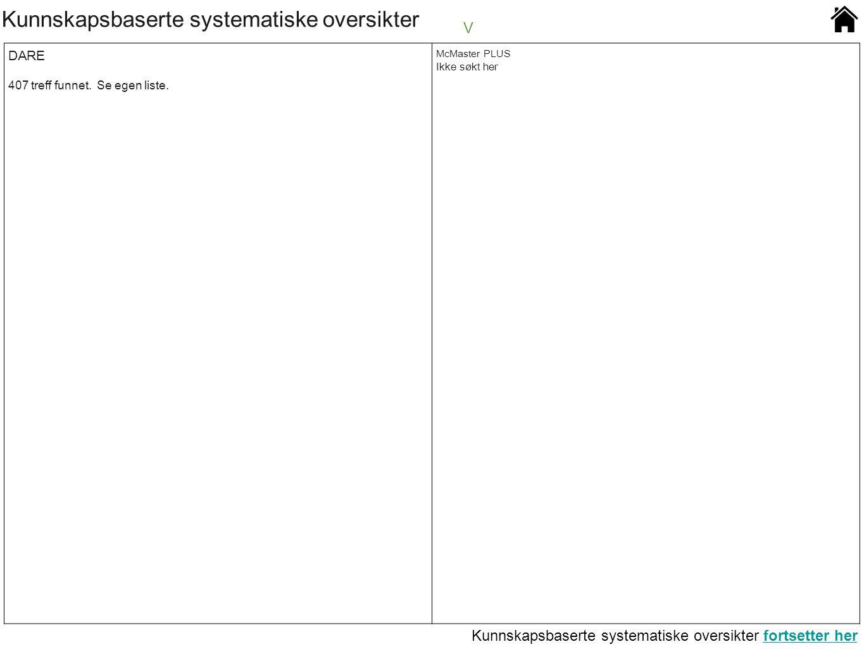 Kunnskapsbaserte systematiske oversikter V DARE 407 treff funnet. Se egen liste. McMaster PLUS Ikke søkt her Kunnskapsbaserte systematiske oversikter