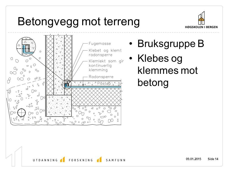 09.01.2015 Side 14 Betongvegg mot terreng Bruksgruppe B Klebes og klemmes mot betong