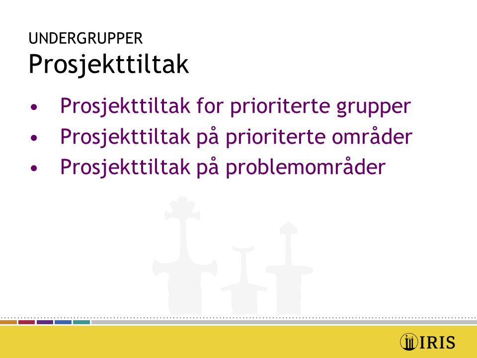UNDERGRUPPER Prosjekttiltak Prosjekttiltak for prioriterte grupper Prosjekttiltak på prioriterte områder Prosjekttiltak på problemområder