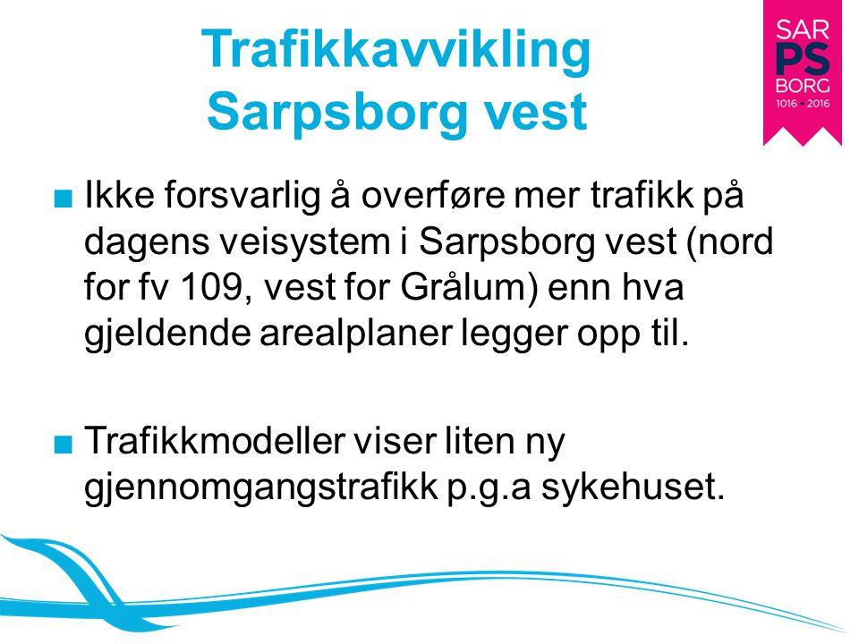 Trafikkavvikling Sarpsborg vest ■Ikke forsvarlig å overføre mer trafikk på dagens veisystem i Sarpsborg vest (nord for fv 109, vest for Grålum) enn hv