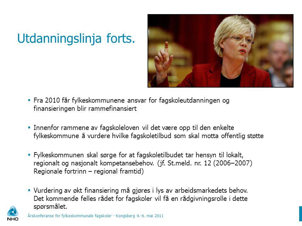 Utdanningslinja forts.  Fra 2010 får fylkeskommunene ansvar for fagskoleutdanningen og finansieringen blir rammefinansiert  Innenfor rammene av fags