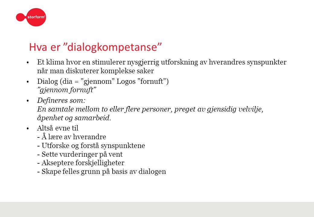 """Hva er """"dialogkompetanse"""" Et klima hvor en stimulerer nysgjerrig utforskning av hverandres synspunkter når man diskuterer komplekse saker Dialog (dia"""