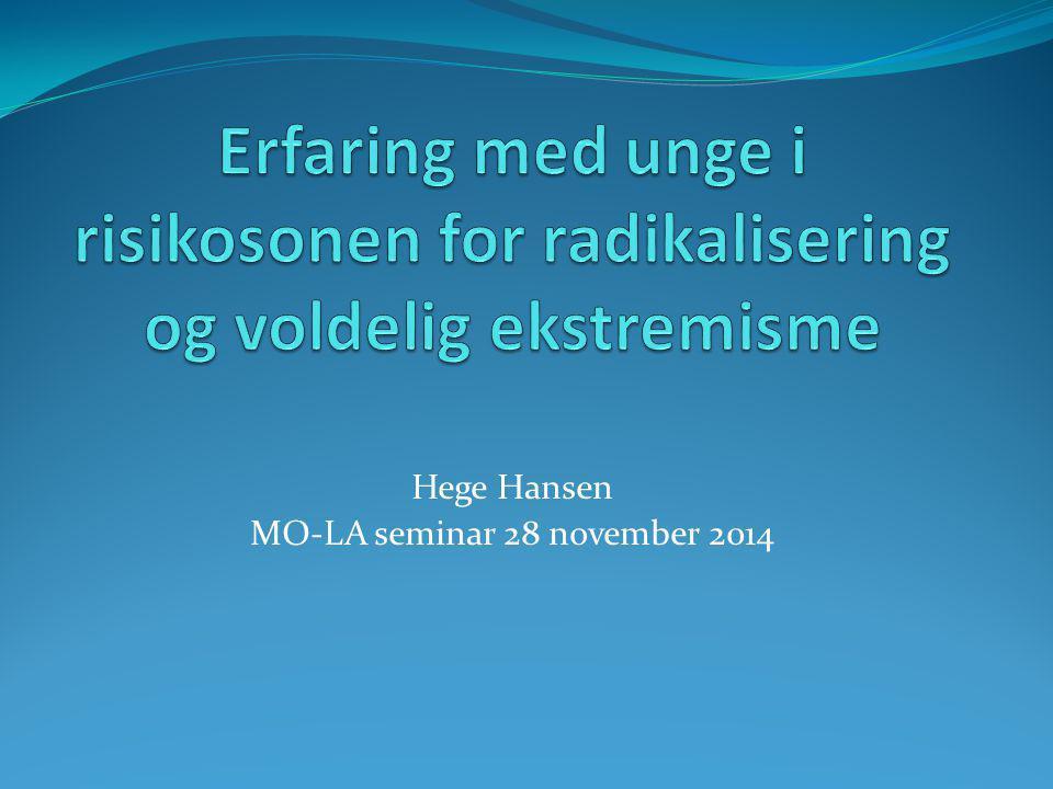 ERFARINGER FRA FELTET Hege Hansen