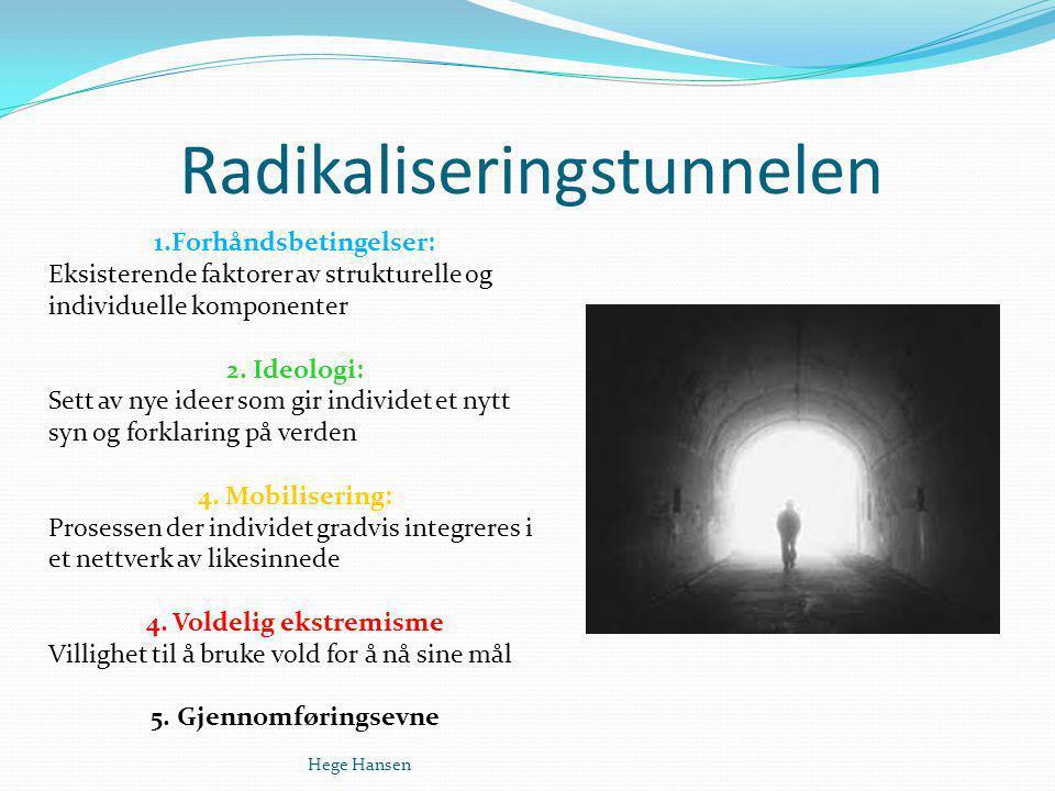 Radikaliseringstunnelen Hege Hansen 1.Forhåndsbetingelser: Eksisterende faktorer av strukturelle og individuelle komponenter 2. Ideologi: Sett av nye
