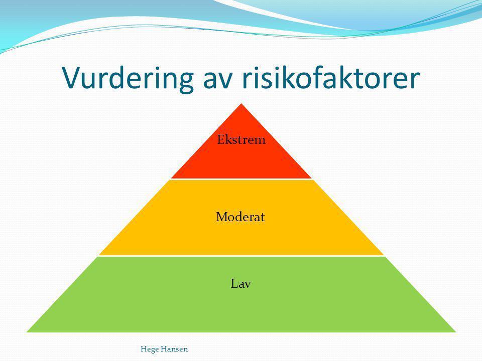 Vurdering av risikofaktorer Hege Hansen
