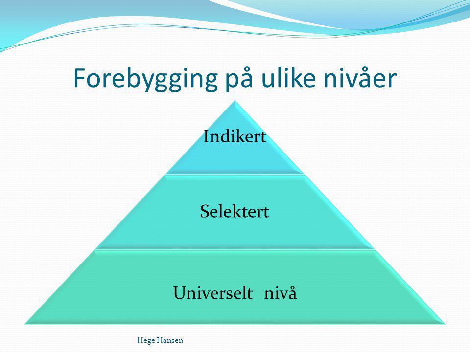 Forebygging på ulike nivåer Hege Hansen