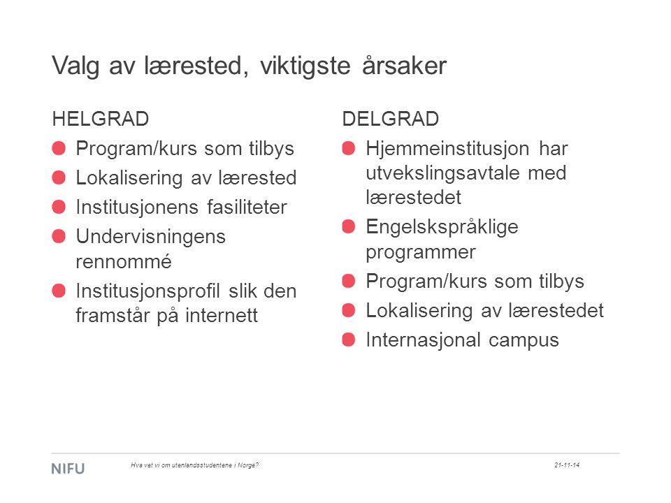 Valg av lærested, viktigste årsaker 21-11-14Hva vet vi om utenlandsstudentene i Norge.