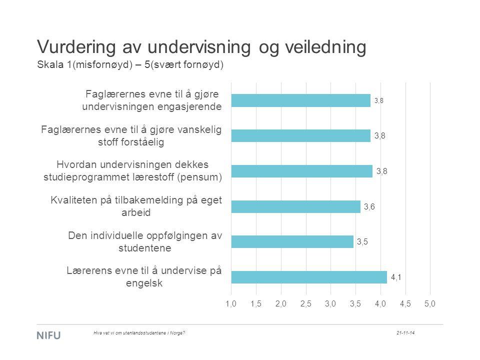 Vurdering av undervisning og veiledning Skala 1(misfornøyd) – 5(svært fornøyd) 21-11-14Hva vet vi om utenlandsstudentene i Norge