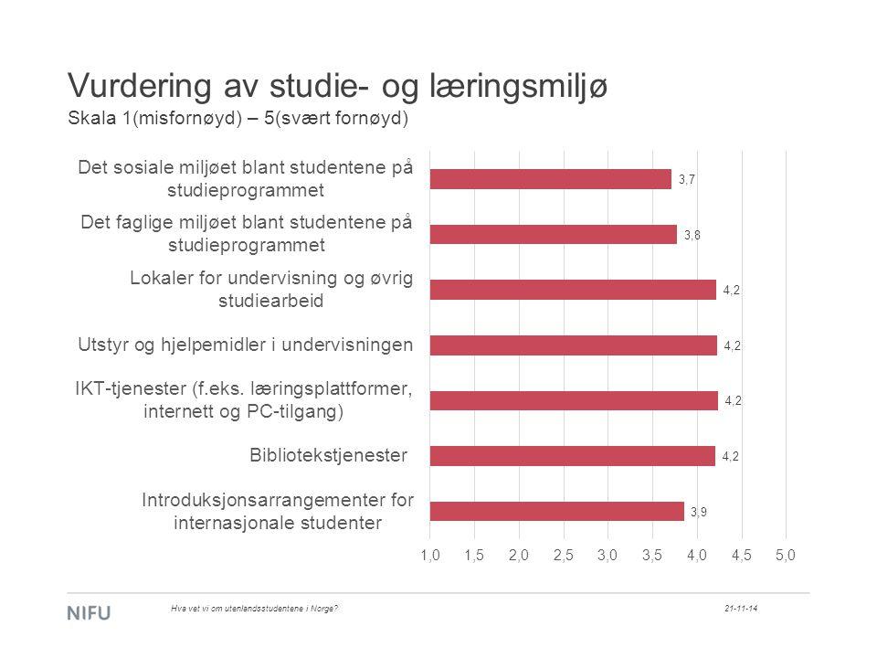 Vurdering av studie- og læringsmiljø Skala 1(misfornøyd) – 5(svært fornøyd) 21-11-14Hva vet vi om utenlandsstudentene i Norge