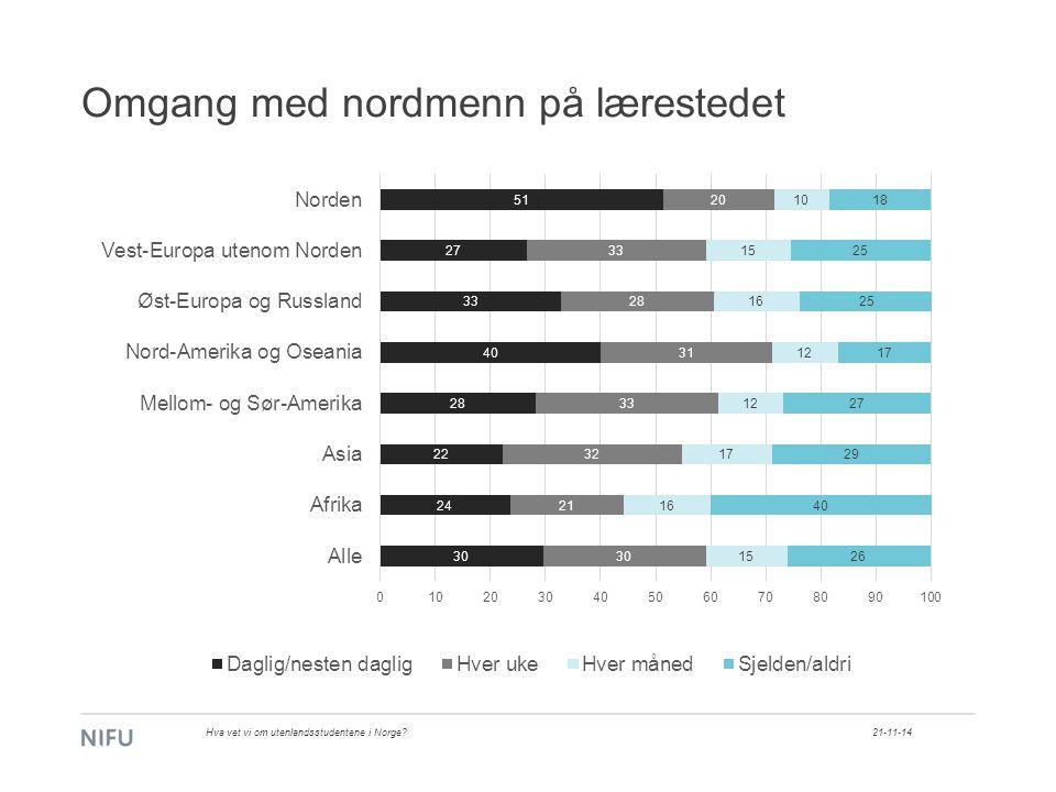 Omgang med nordmenn på lærestedet 21-11-14Hva vet vi om utenlandsstudentene i Norge