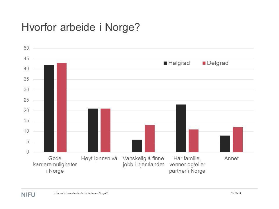 Hvorfor arbeide i Norge 21-11-14Hva vet vi om utenlandsstudentene i Norge