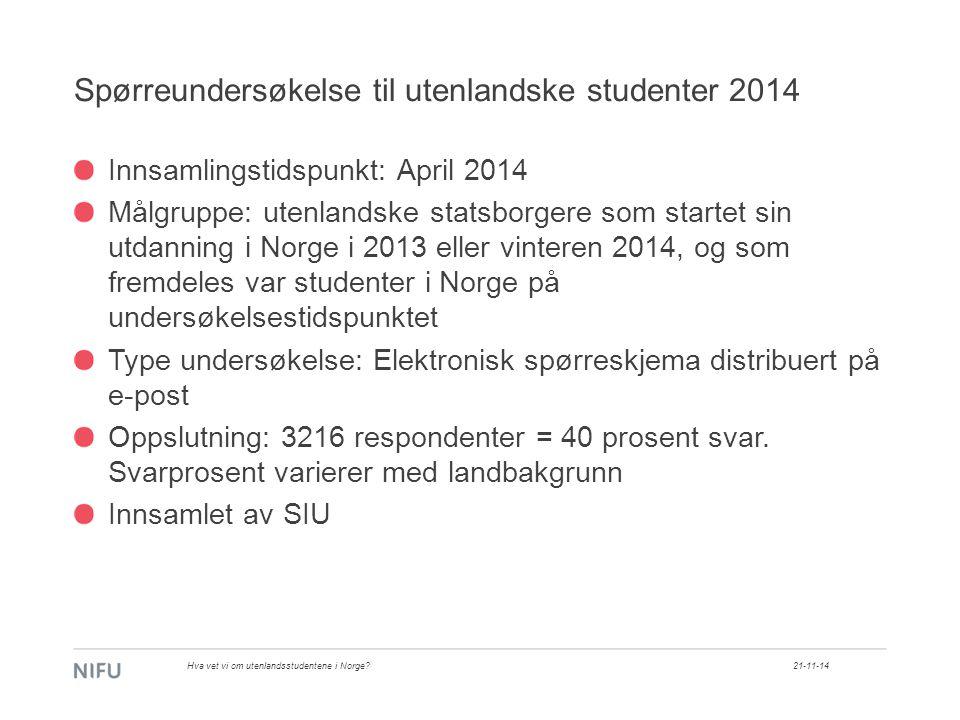 Hvor kommer helgradstudentene fra? 21-11-14Hva vet vi om utenlandsstudentene i Norge?