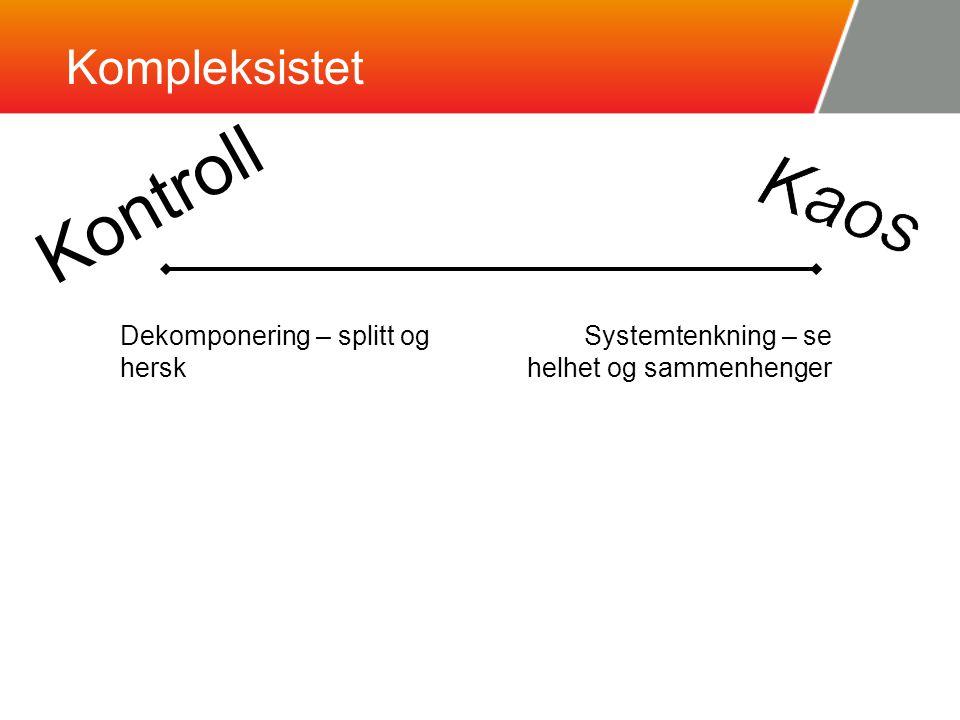 Kompleksistet Kontroll Dekomponering – splitt og hersk Systemtenkning – se helhet og sammenhenger