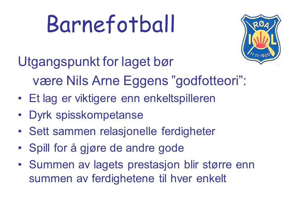 """Barnefotball Utgangspunkt for laget bør være Nils Arne Eggens """"godfotteori"""": Et lag er viktigere enn enkeltspilleren Dyrk spisskompetanse Sett sammen"""