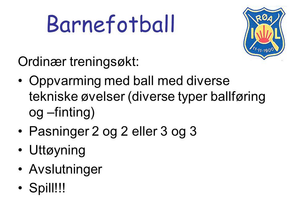 Barnefotball Ordinær treningsøkt: Oppvarming med ball med diverse tekniske øvelser (diverse typer ballføring og –finting) Pasninger 2 og 2 eller 3 og