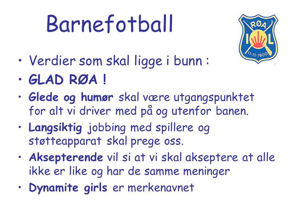 Barnefotball Verdier som skal ligge i bunn : GLAD RØA ! Glede og humør skal være utgangspunktet for alt vi driver med på og utenfor banen. Langsiktig