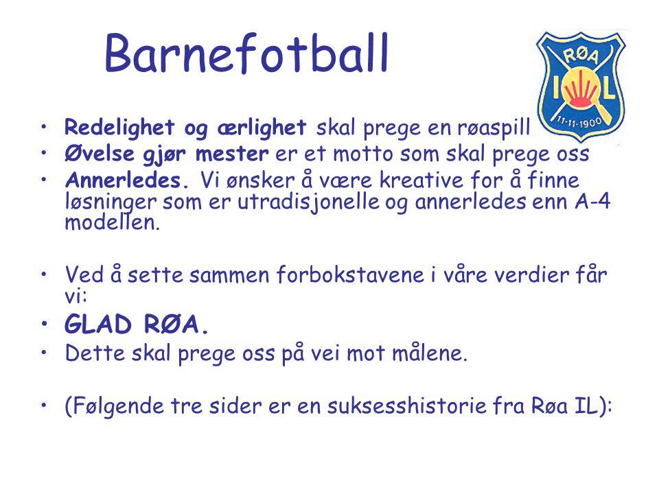 Barnefotball Utgangspunkt for laget bør være Nils Arne Eggens godfotteori : Et lag er viktigere enn enkeltspilleren Dyrk spisskompetanse Sett sammen relasjonelle ferdigheter Spill for å gjøre de andre gode Summen av lagets prestasjon blir større enn summen av ferdighetene til hver enkelt