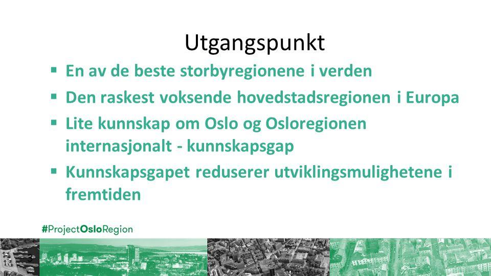 Utgangspunkt 3  En av de beste storbyregionene i verden  Den raskest voksende hovedstadsregionen i Europa  Lite kunnskap om Oslo og Osloregionen internasjonalt - kunnskapsgap  Kunnskapsgapet reduserer utviklingsmulighetene i fremtiden