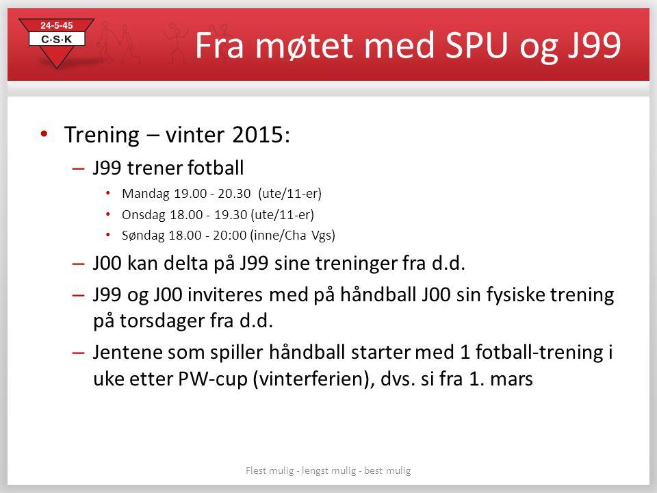 Fra møtet med SPU og J99 Trening – vinter 2015: – J99 trener fotball Mandag 19.00 - 20.30 (ute/11-er) Onsdag 18.00 - 19.30 (ute/11-er) Søndag 18.00 - 20:00 (inne/Cha Vgs) – J00 kan delta på J99 sine treninger fra d.d.