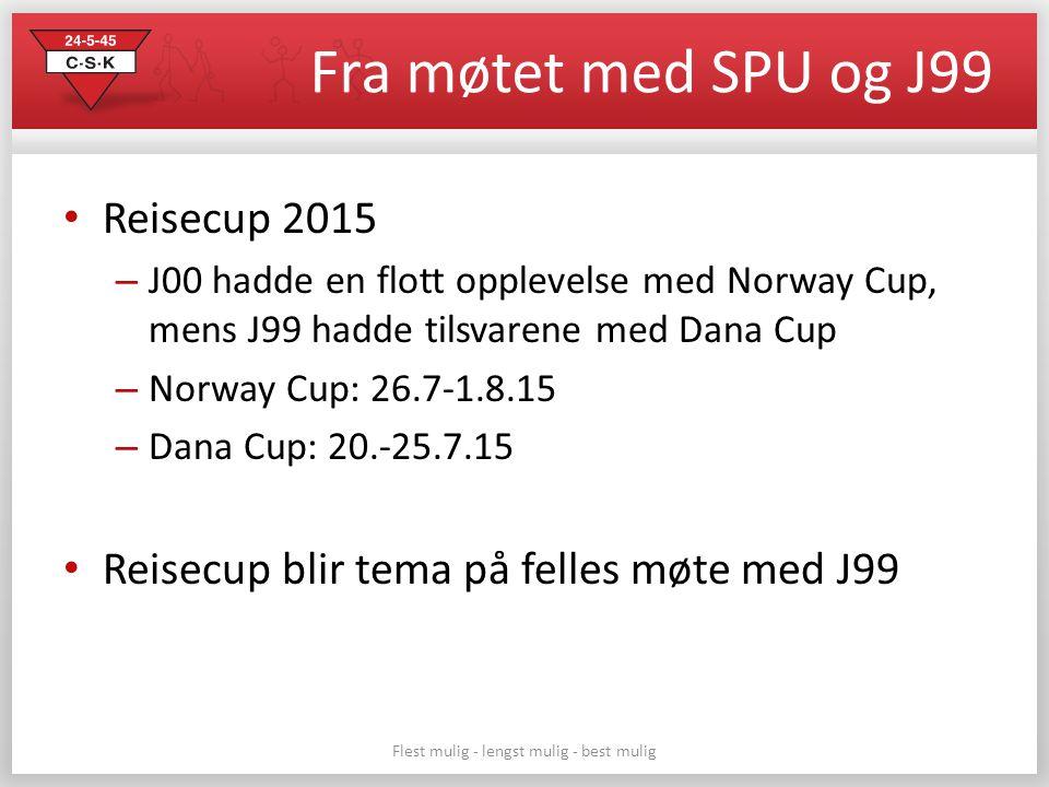 Fra møtet med SPU og J99 Reisecup 2015 – J00 hadde en flott opplevelse med Norway Cup, mens J99 hadde tilsvarene med Dana Cup – Norway Cup: 26.7-1.8.15 – Dana Cup: 20.-25.7.15 Reisecup blir tema på felles møte med J99 Flest mulig - lengst mulig - best mulig