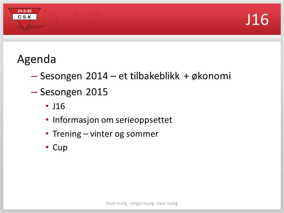 Flest mulig - lengst mulig - best mulig J16 Agenda – Sesongen 2014 – et tilbakeblikk + økonomi – Sesongen 2015 J16 Informasjon om serieoppsettet Trening – vinter og sommer Cup