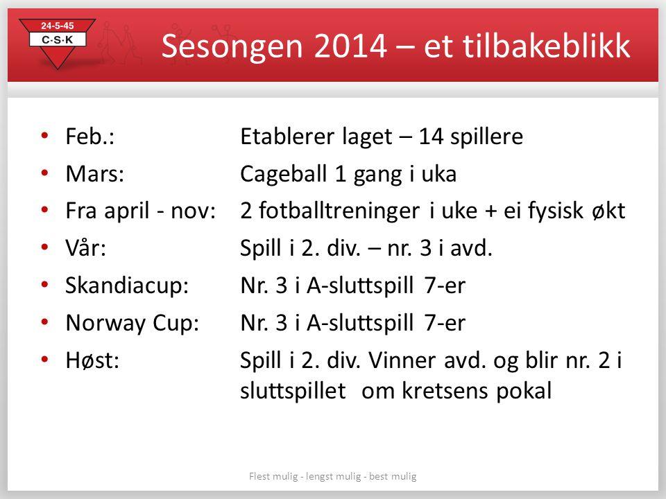 Sesongen 2014 – et tilbakeblikk Feb.: Etablerer laget – 14 spillere Mars: Cageball 1 gang i uka Fra april - nov: 2 fotballtreninger i uke + ei fysisk økt Vår: Spill i 2.