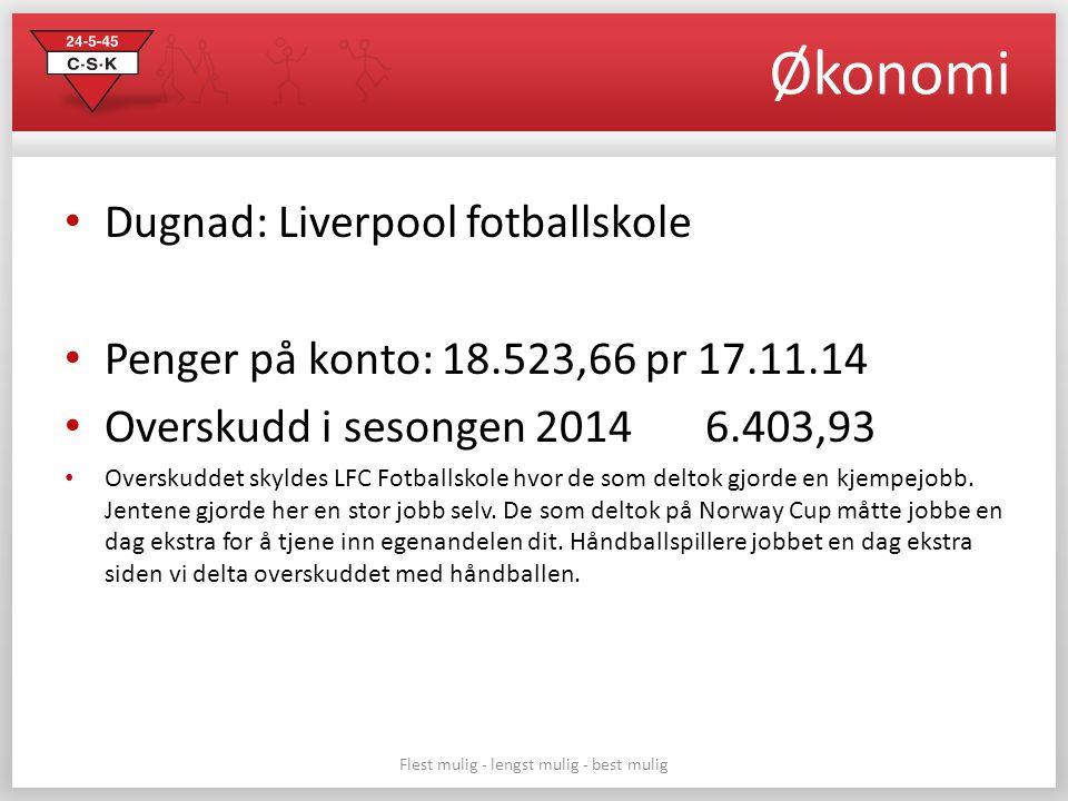Økonomi Dugnad: Liverpool fotballskole Penger på konto: 18.523,66 pr 17.11.14 Overskudd i sesongen 2014 6.403,93 Overskuddet skyldes LFC Fotballskole hvor de som deltok gjorde en kjempejobb.
