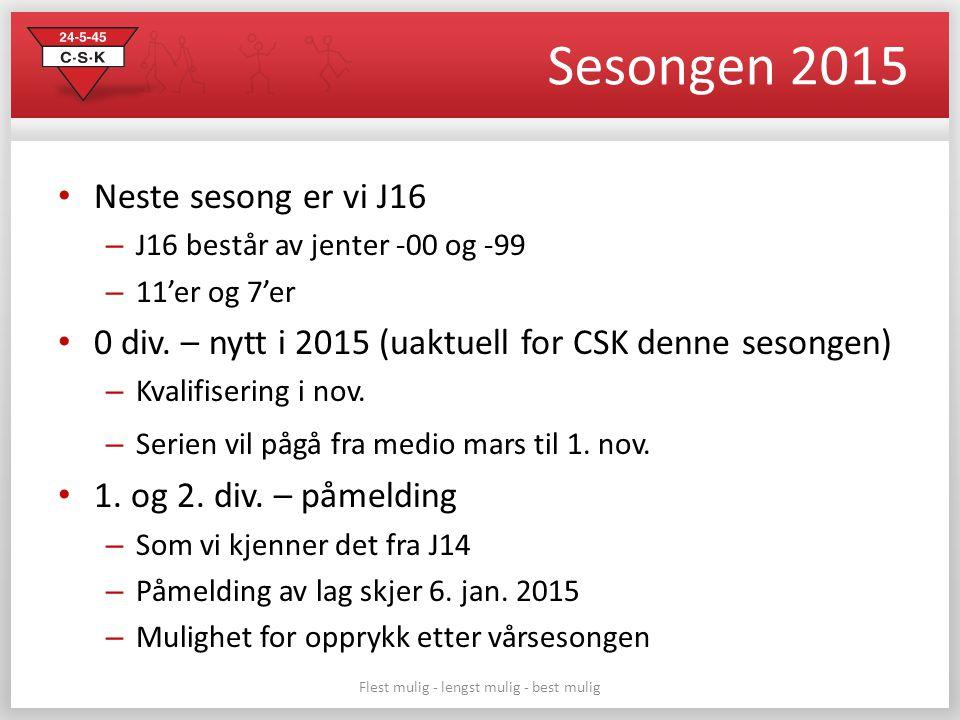 Sesongen 2015 Neste sesong er vi J16 – J16 består av jenter -00 og -99 – 11'er og 7'er 0 div. – nytt i 2015 (uaktuell for CSK denne sesongen) – Kvalif