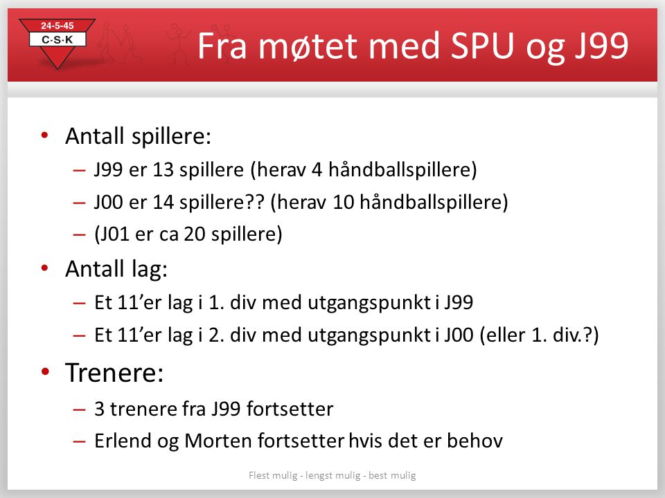 Fra møtet med SPU og J99 Antall spillere: – J99 er 13 spillere (herav 4 håndballspillere) – J00 er 14 spillere?? (herav 10 håndballspillere) – (J01 er