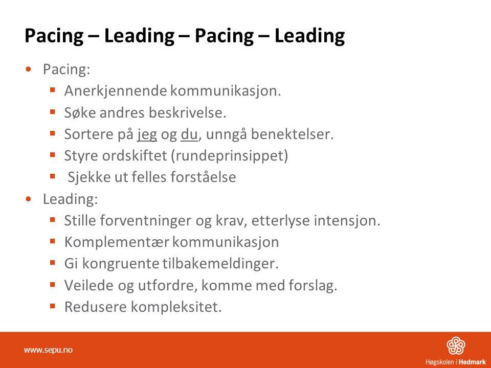 Pacing – Leading – Pacing – Leading Pacing:  Anerkjennende kommunikasjon.  Søke andres beskrivelse.  Sortere på jeg og du, unngå benektelser.  Sty