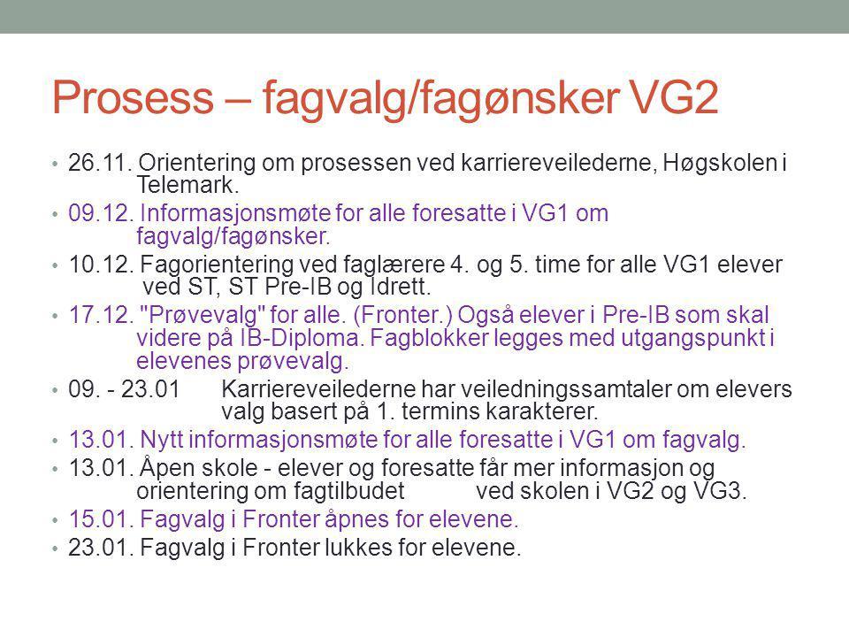 Prosess – fagvalg/fagønsker VG2 26.11.