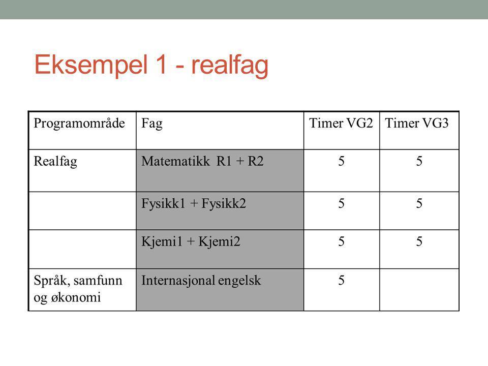 Eksempel 1 - realfag