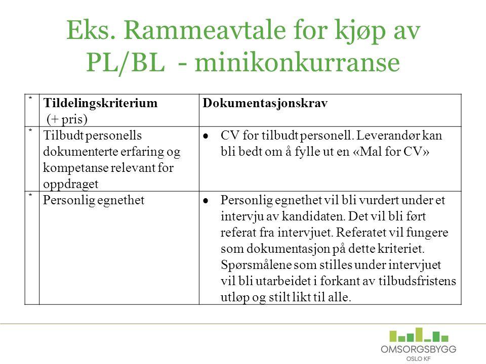 Eks. Rammeavtale for kjøp av PL/BL - minikonkurranse * Tildelingskriterium (+ pris) Dokumentasjonskrav * Tilbudt personells dokumenterte erfaring og k